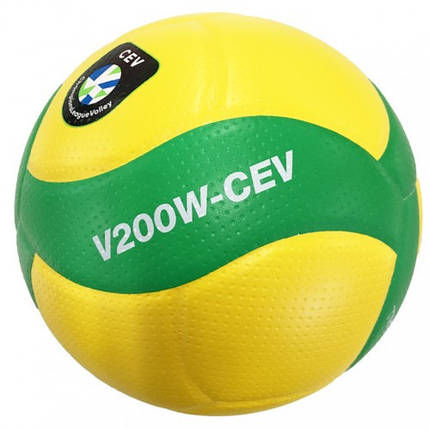 Мяч волейбольный профессиональный Mikasa V200W CEV Желто-зелений (4907225881291), фото 2