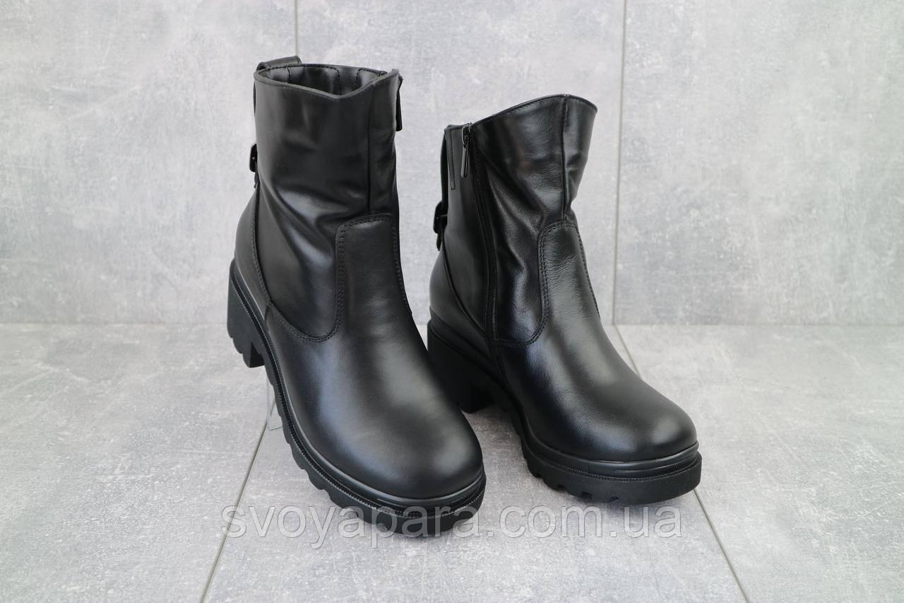 Женские ботинки кожаные зимние черные HD 4007