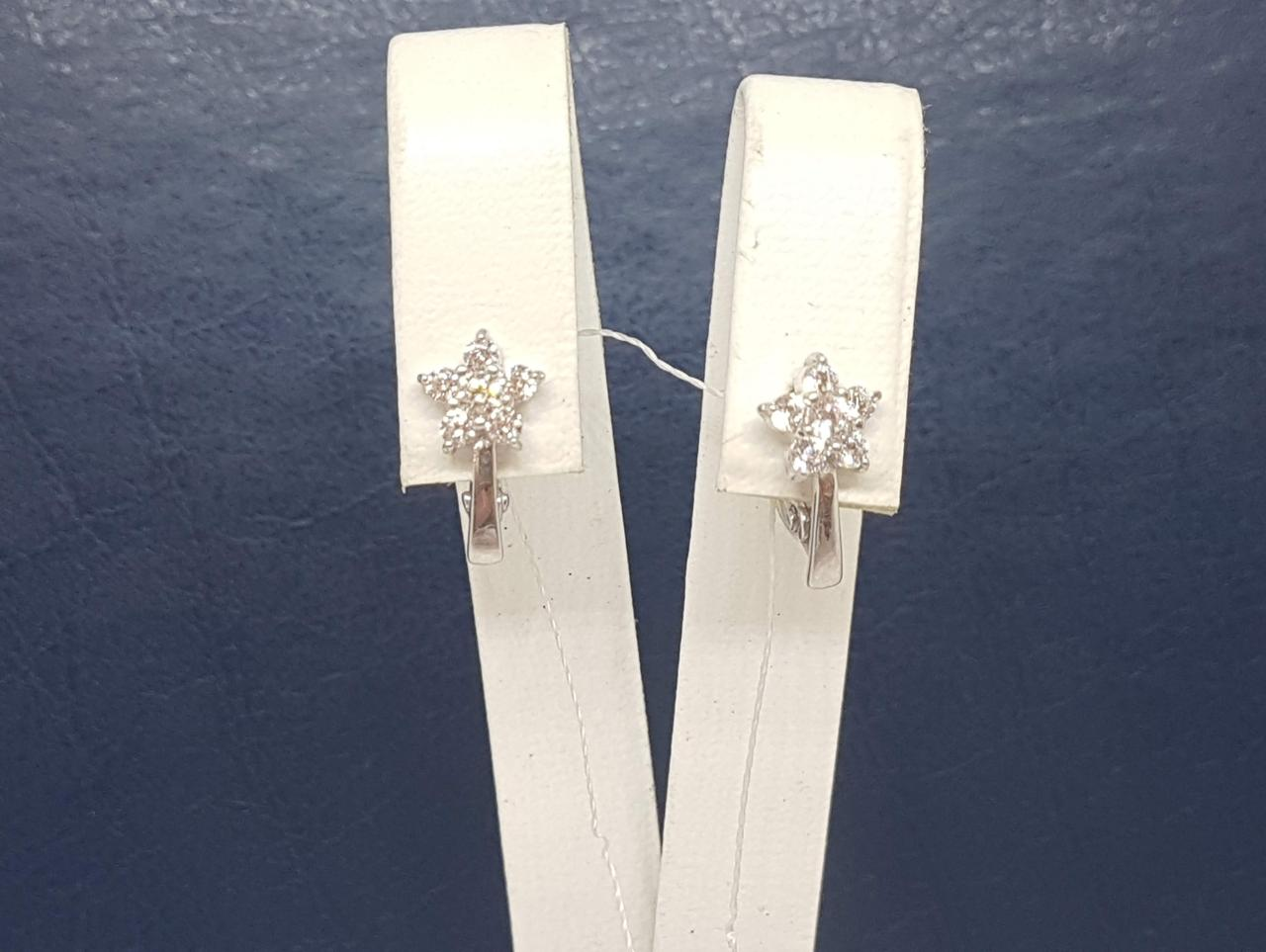 Срібні сережки з фіанітами. Артикул СВ265С