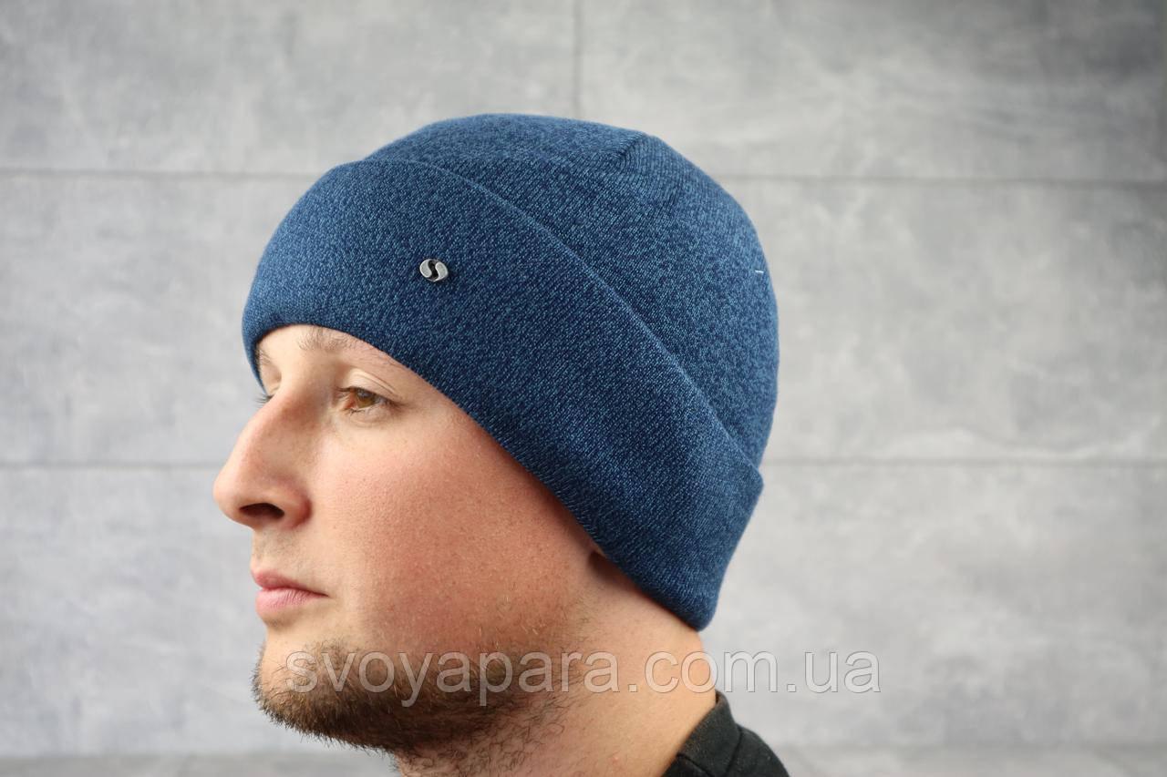 Мужская зимння шапка с отворотом ShaDo 51А цвет Джинс
