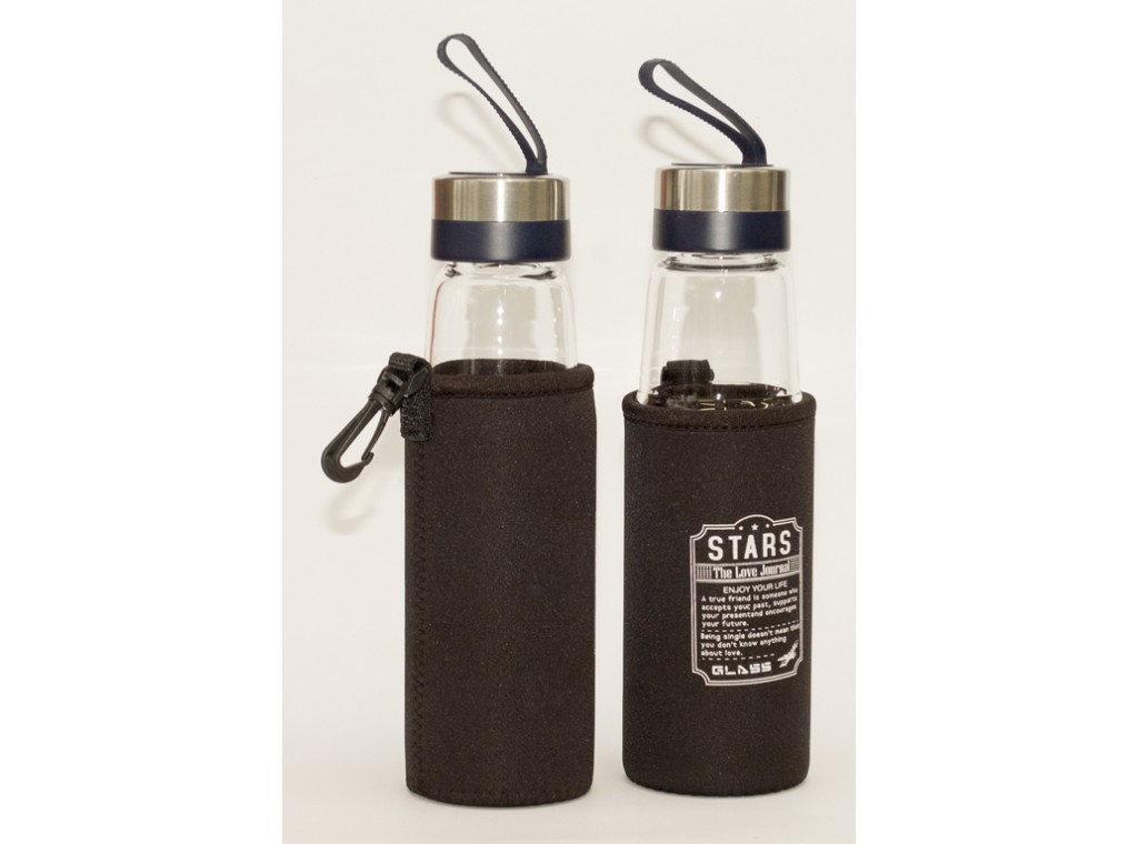 Бутылка для воды стеклянная Stars 500 мл в чехле