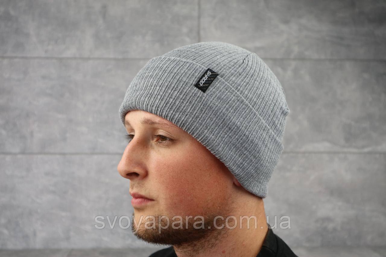 Мужская зимння шапка с отворотом ShaDo 65Б Серый