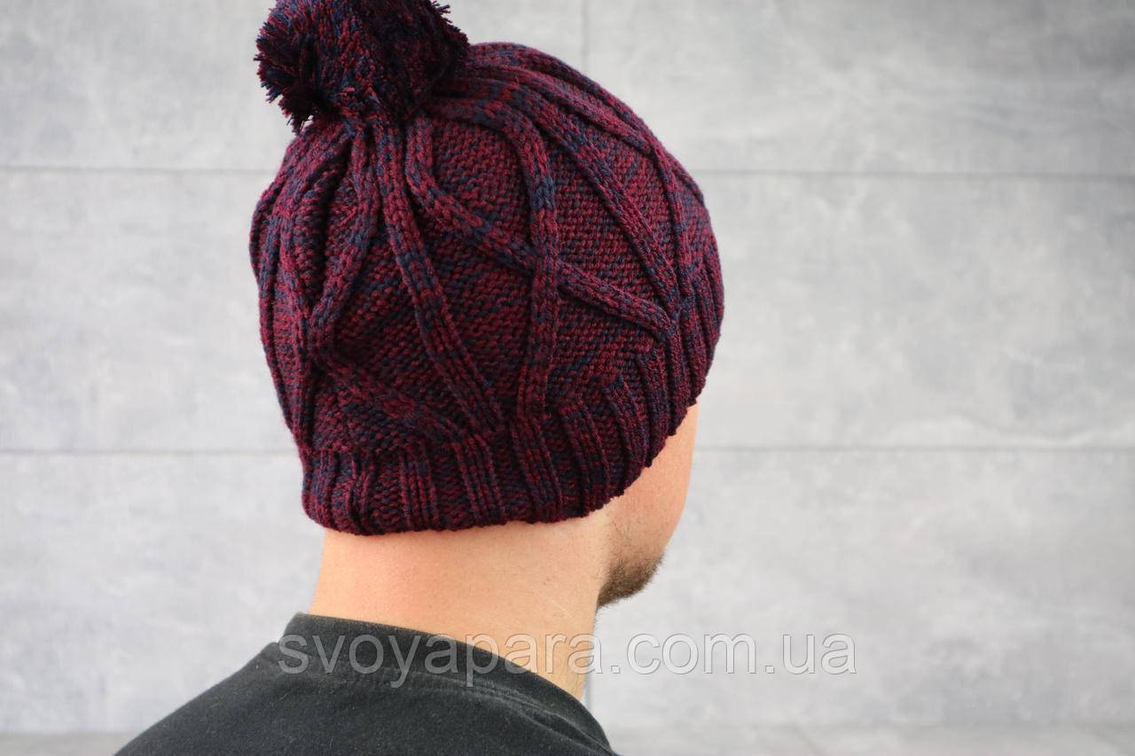 Мужская зимння шапка ShaDo 28 Бордовый