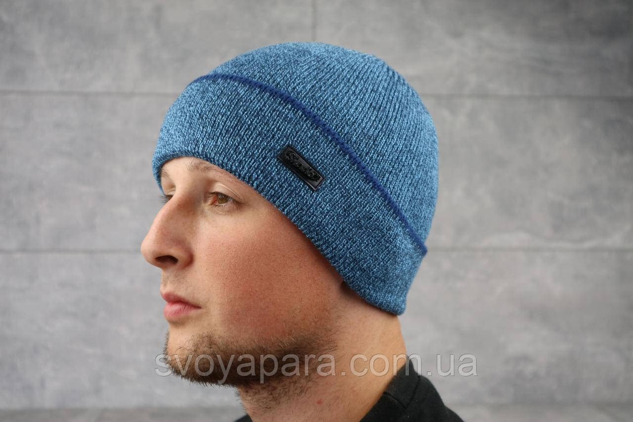 Мужская зимння шапка с отворотом ShaDo 83 цвет Джинс