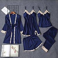 Комплект для дома и сна из шелка, синий/разные цвета