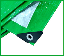 Тент 4х5 м. зелено-белый с кольцами плотность 120  г/м² (тарпаулин)