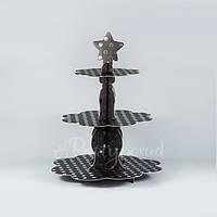 Этажерка бумажная черно-серебряная