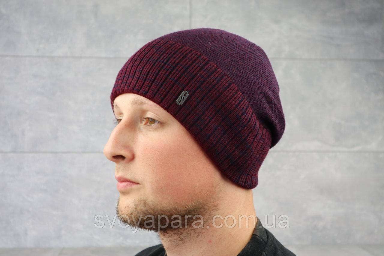 Мужская зимння шапка ShaDo 45 Бордовый
