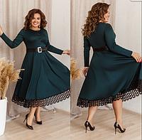 Женское платье с поясом и ажурными вставками, с 48-58 размер, фото 1