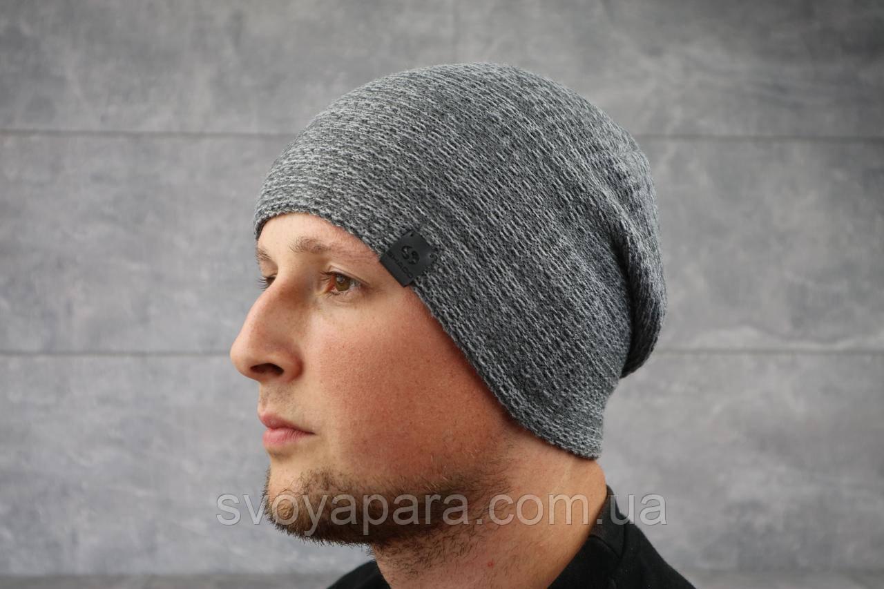 Мужская зимння шапка с отворотом ShaDo 30 Серый