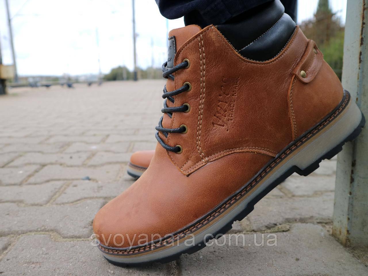 Ботинки мужские Yuves 775 рыжий (натуральная кожа, зима)