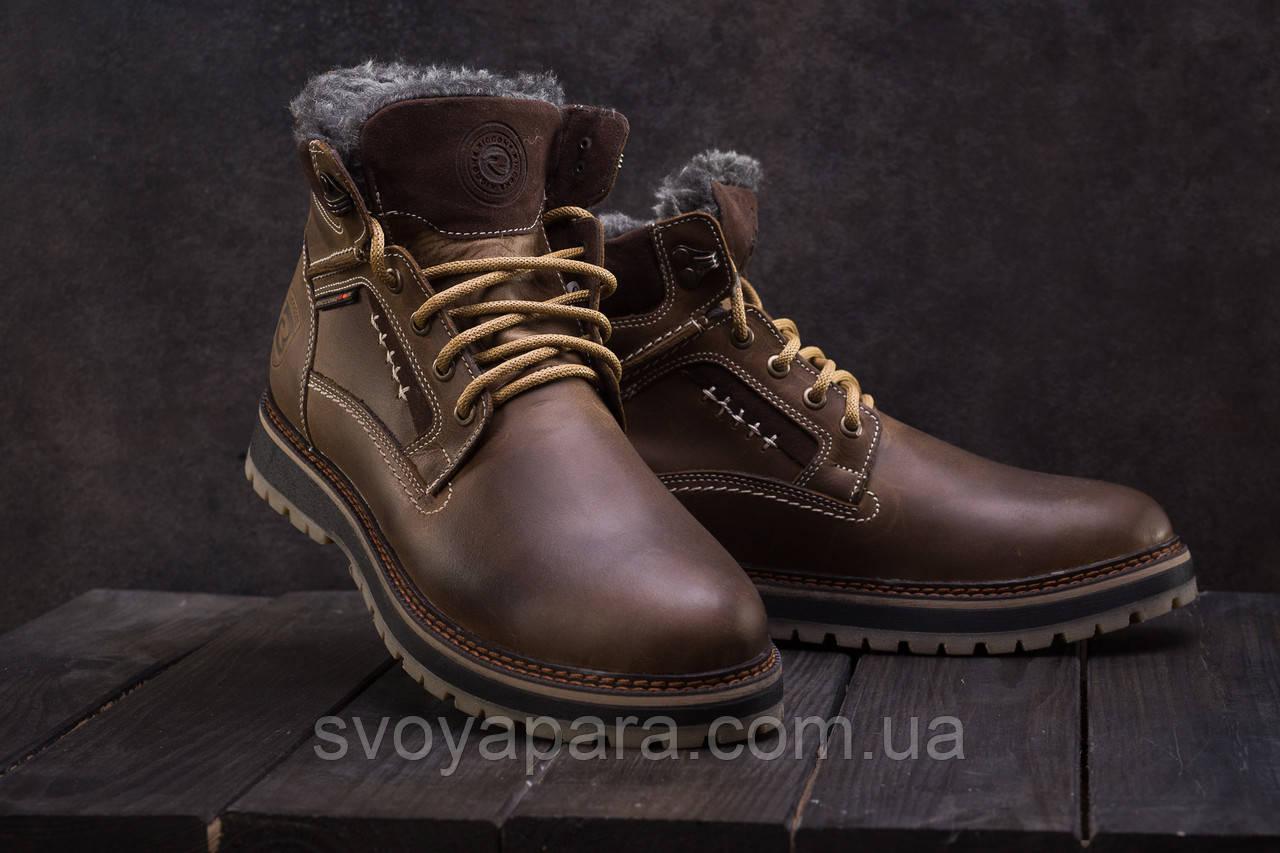 Ботинки мужские Riccone 222 оливковые (натуральная кожа, зима)