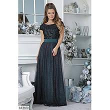 Вечірня сукня в пол з велюру та сітки