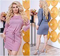 Р-ри 48-56 Короткий в'язане плаття - туніка Батал 20462, фото 1