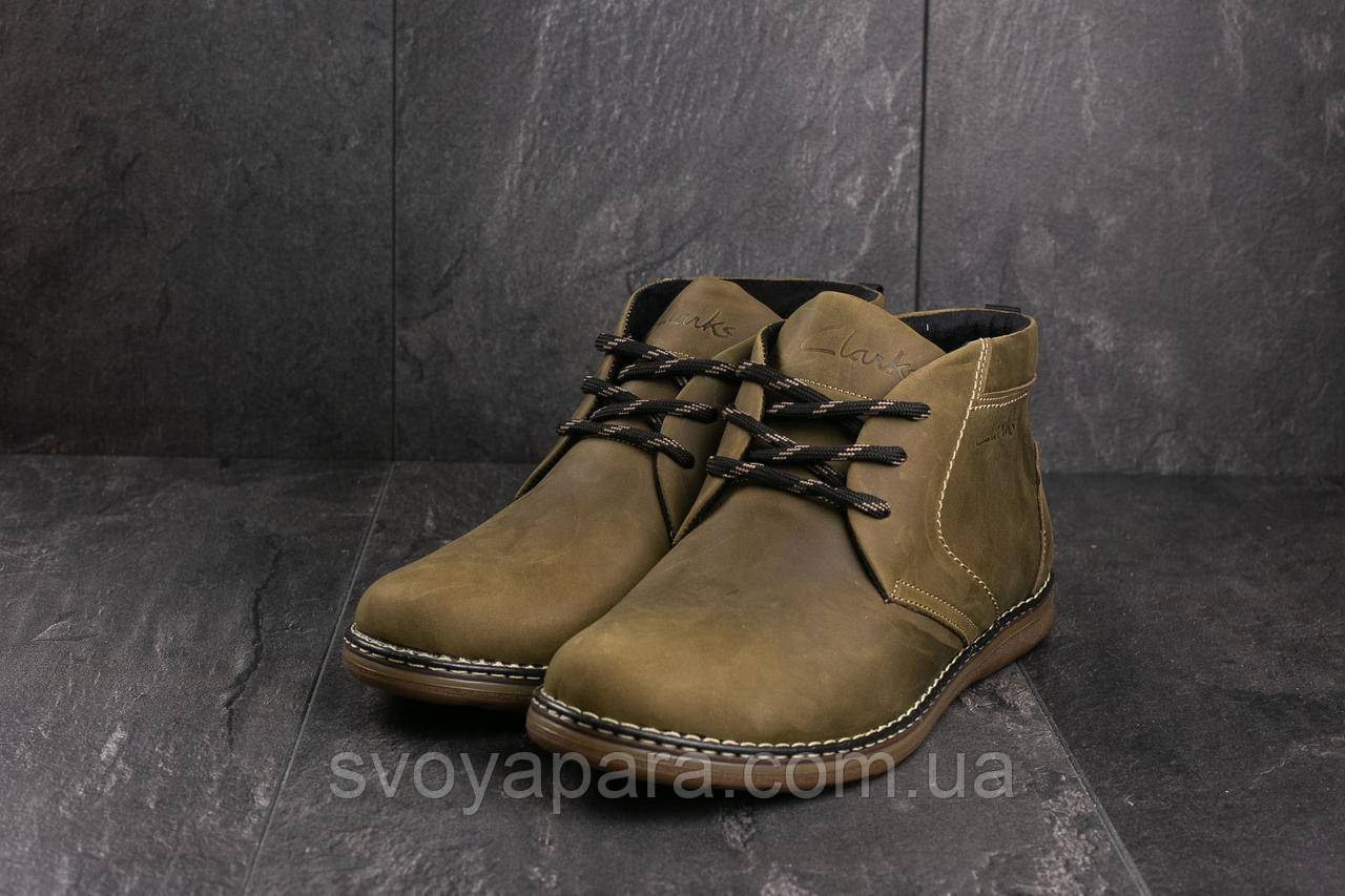 Ботинки мужские Yuves 801 оливковые (натуральная кожа, зима)