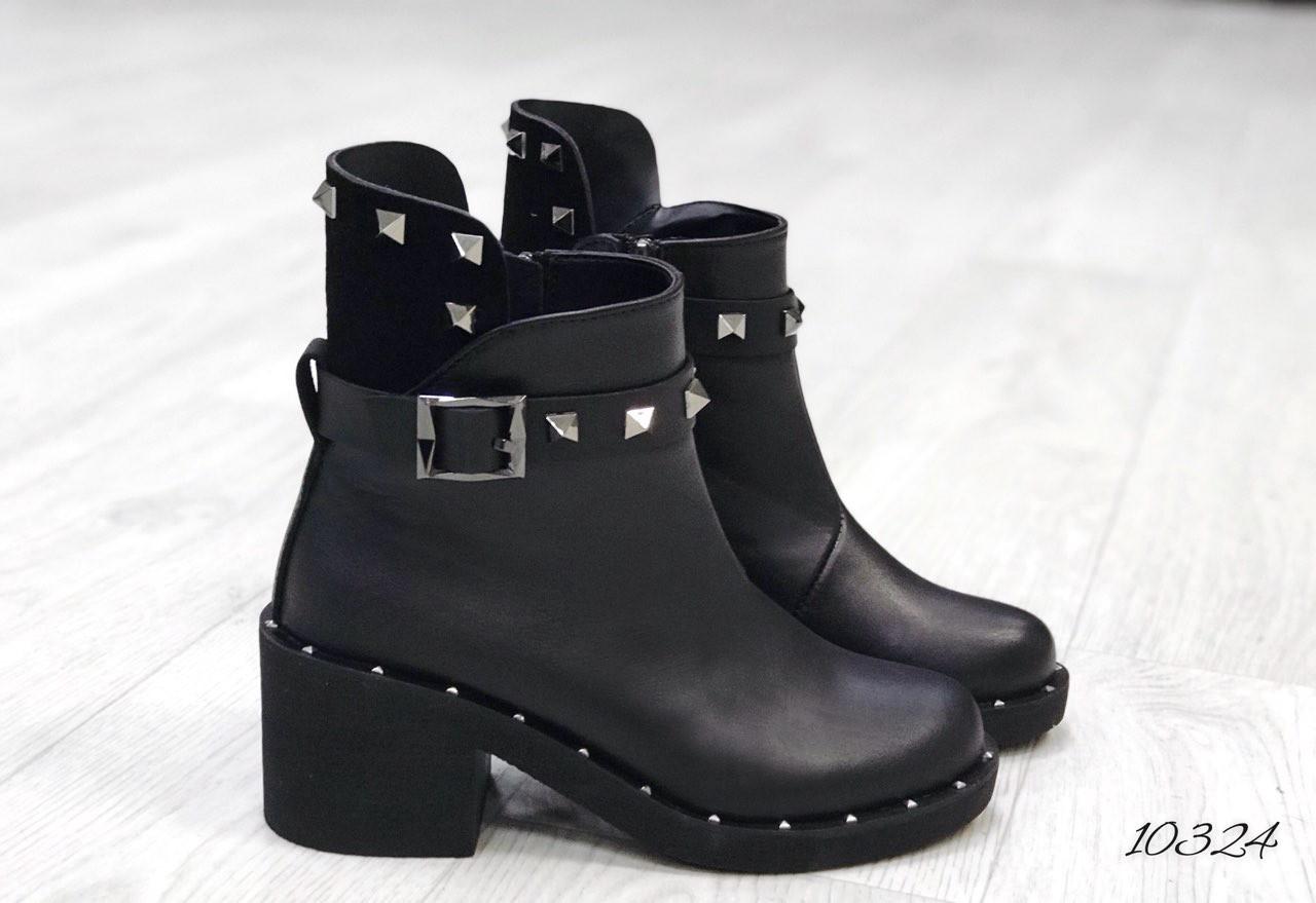 Ботинки зима чёрный кожа ( высокая пятка). В наличии и под заказ