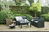 Набор садовой мебели Carolina Lounge Set Graphite ( графит ) из искусственного ротанга ( Allibert by Keter ), фото 8