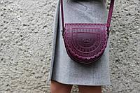 Кожаная женская сумка, фиолетовая сумка Тобивка, сумка через плечо, фото 1