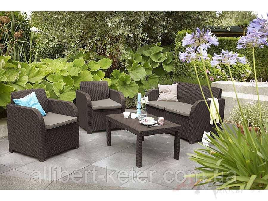 Набор садовой мебели Carolina Lounge Set Brown ( коричневый ) из искусственного ротанга