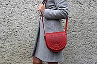 Кожаная женская сумка, красная сумка, сумка через плечо, тобивка, фото 1