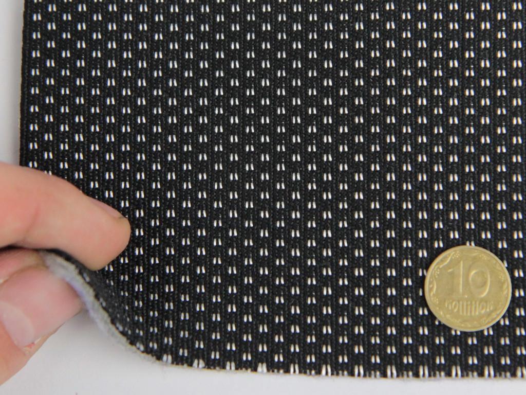 Ткань для сидений автомобиля, черный с белым, на войлоке (для центральной части) шир 1.70м