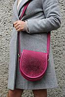 Кожаная женская сумка, розовая сумочка, сумка через плечо, фото 1
