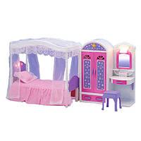 Мебель 2027 (6шт) спальня, кровать, шкаф-трюмо 28-24-9см, свет, на бат-ке, в кор-ке, 55,5-32-10см