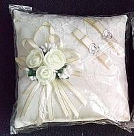 Свадебная подушка под кольца № 2 (кремовая)