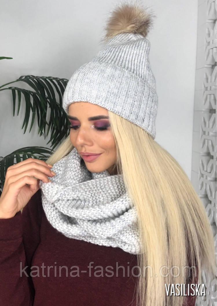 Женский вязаный комплект: шапка с меховым помпоном и шарф-хомут (в расцветках)