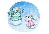 """Зимова Листівка """"Луї та сніговик"""", фото 1"""