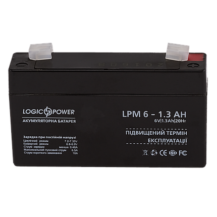 Аккумулятор AGM LogicPower LPM 6-1,3 AH., фото 2