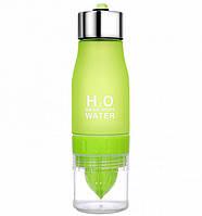 Бутылка для воды и напитков H2O Water Bottle с соковыжималкой 650 мл зеленая SKL11-187053