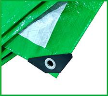 Тент 6х8 м. зелено-белый с кольцами плотность 120  г/м² (тарпаулин)
