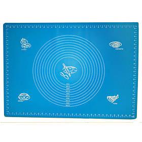 Силиконовый коврик A-PLUS для выпечки и раскатки теста 50*70 см голубой