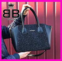 Сумка женская стильная с блеском ,городской стиль,черная бренд