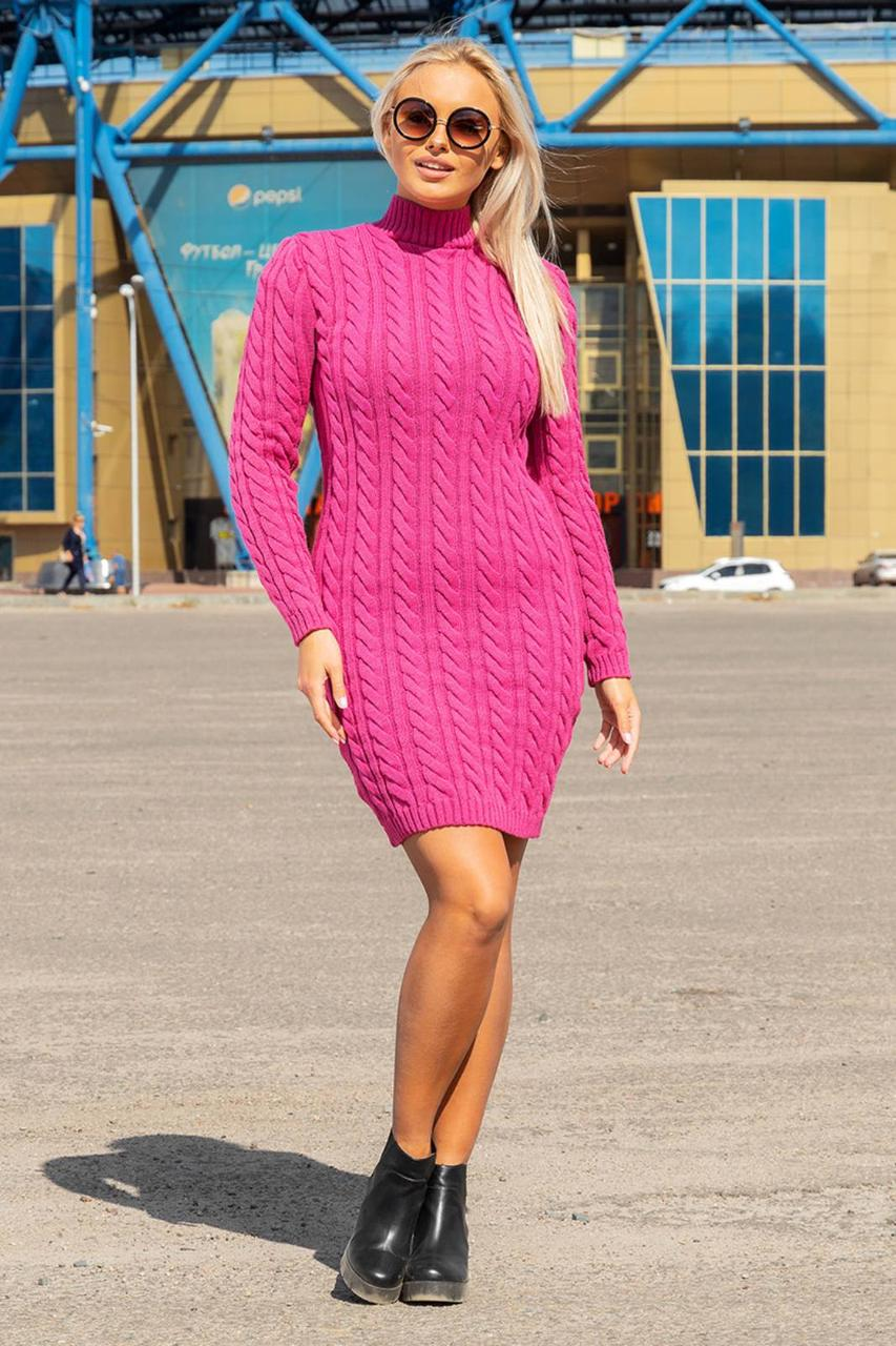 Теплое вязаноеплатье косичка