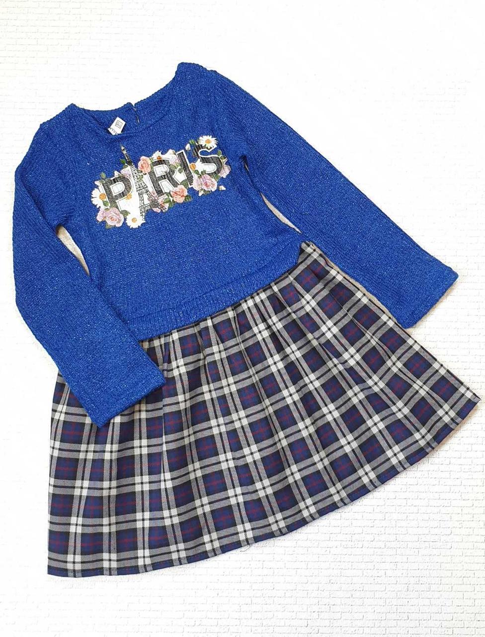 Детское платье для девочки с принтом Paris р.92-110 опт