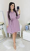 Женское платье по колено с запахом /разные цвета, 42-46, LL-026/