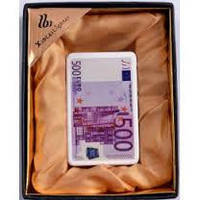 Подарочная зажигалка 500 Евро ХА 4 Приносит удачу и богатство! Стильная Оригинальная Зажигалка Огонь в кармане
