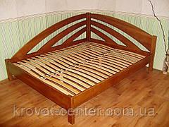 """Белая двуспальная кровать из массива натурального дерева """"Радуга"""" угловая, фото 3"""