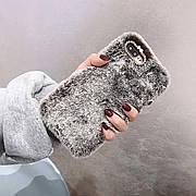 Меховой чехол для Iphone XR Chocolate Gray