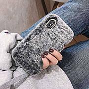 Меховой чехол для Iphone XR Gray