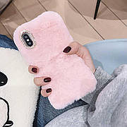 Меховой чехол для  Iphone XR Pink