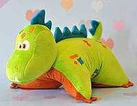 Динозавр зелёный подушка-трансформер, 35х39 см, фото 1