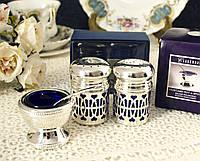 Посеребренные аксессуары для сервировки стола, соль - перец и горчичница, серебрение, винтаж, Англия, фото 1