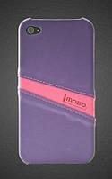 Кожаный чехол-накладка для телефона iMOBO leather back cover for iPhone 4/4S, purple/pink (HCIP-15PP)