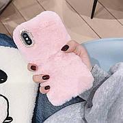 Меховой чехол для  Iphone XS Max Pink