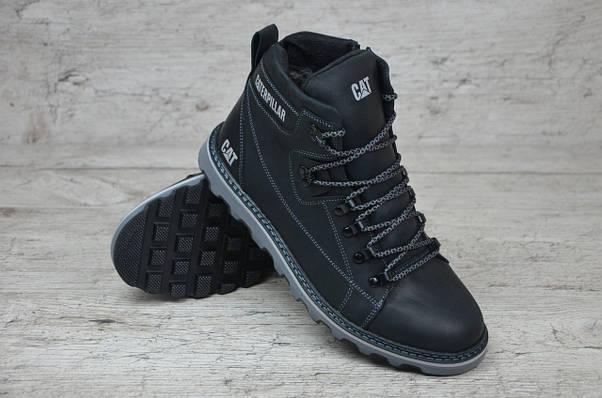 Мужские кожаные зимние ботинки Caterpillar  (Реплика) (Код:Б 707 чер  ) ►Размеры [41], фото 3
