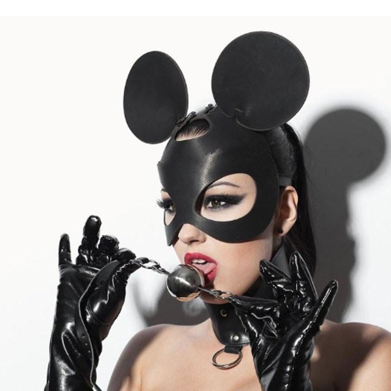 Маска мышки с круглыми ушами микимаус Mouse Minnie Ear BDSM фетиш карнавальная для вечеринок