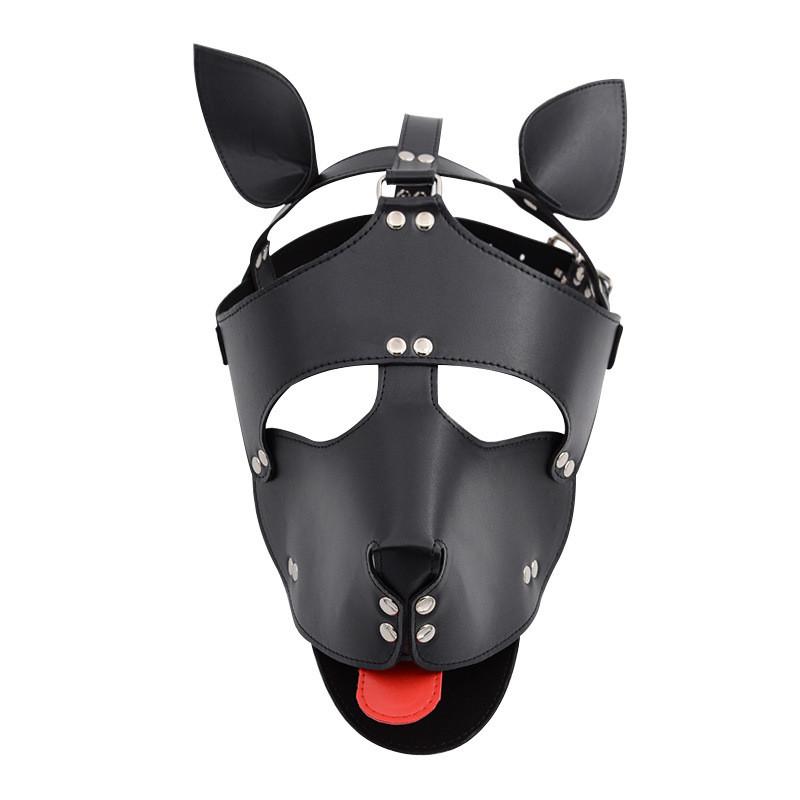Маска собаки с красным языком кожаная Dog Leather Mask BDSM